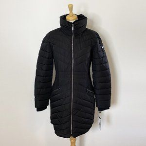 NEW DKNY Black Stretch Quilted Puffer Jacket